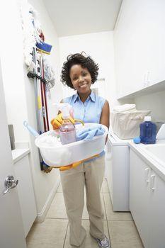Woman doing housework portrait