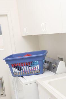 Laundry basket on a washing machine