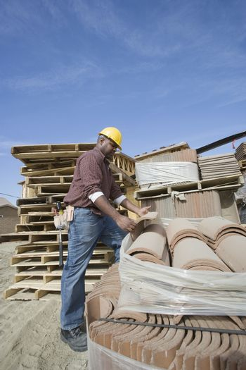 Construction worker at work on site