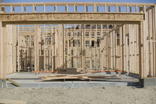 Framework of a new residence under construction