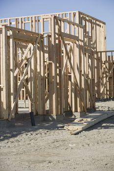 Framework of new house under construction