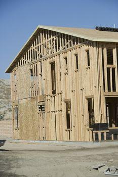 Exterior framework of a wooden house
