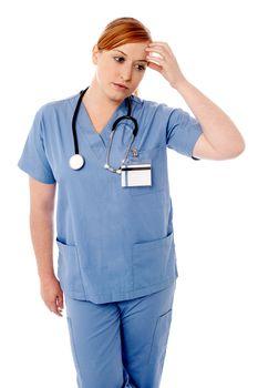 Female physician having headache