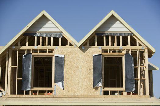 Closeup of house under construction