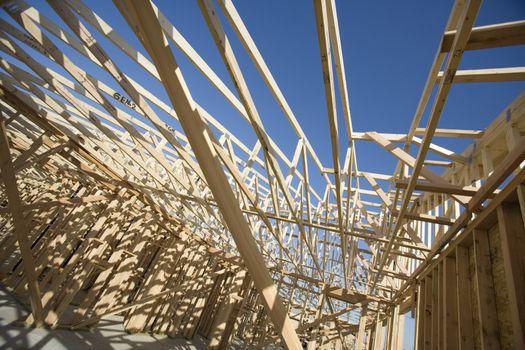 Framework of a new wooden house under construction