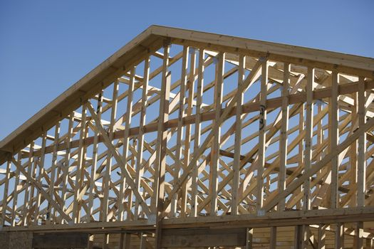 Framework of roof under construction