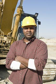Construction worker on site portrait