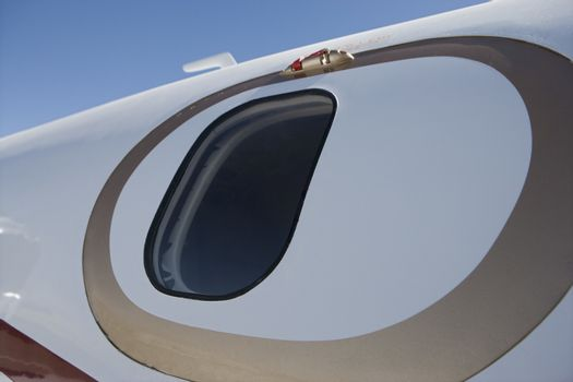 Closeup of an airplane window from outside