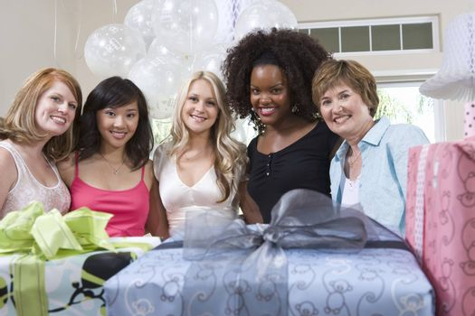 Bride and Friends standing Together at Bridal Shower