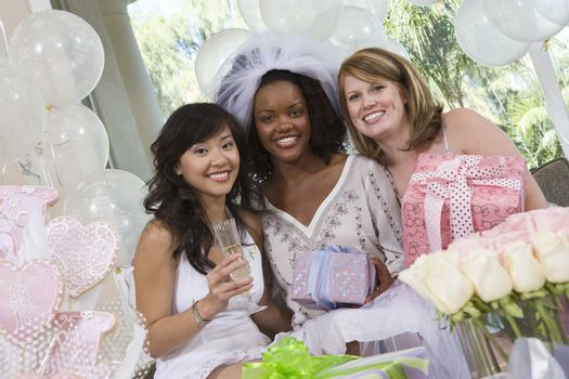 Portrait of multi ethnic friends celebrating hen party