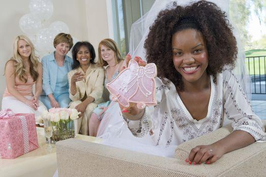 Bride showing wedding decoration