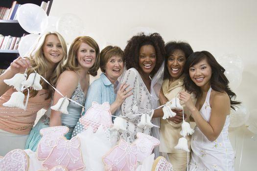 Group of women posing at bridal shower