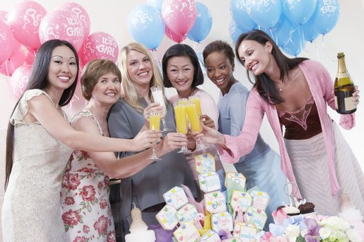 Friends Having a Toast at a Baby Shower