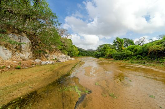 Shallow almost dry river bed in Macuira National Park in La Guajira, Colombia