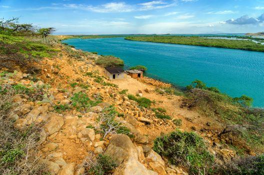 Dry coast next to beautiful blue Caribbean Sea in La Guajira, Colombia