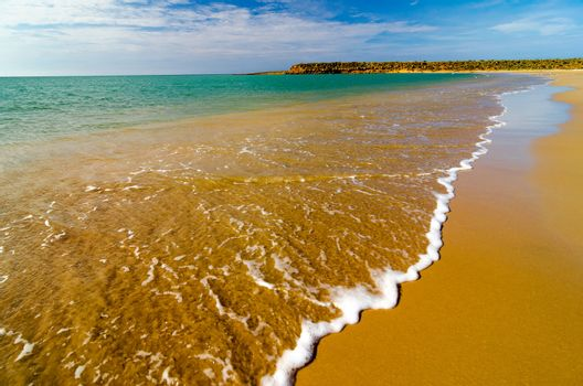 Closeup of water on a Caribbean beach in La Guajira, Colombia