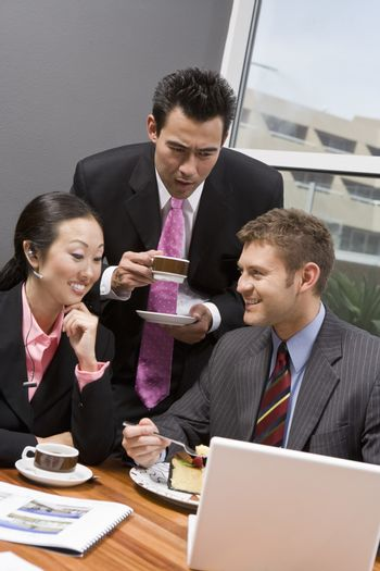 Multi ethnic business people at their coffee break