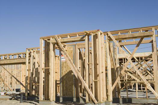 Framework of wooden house under construction