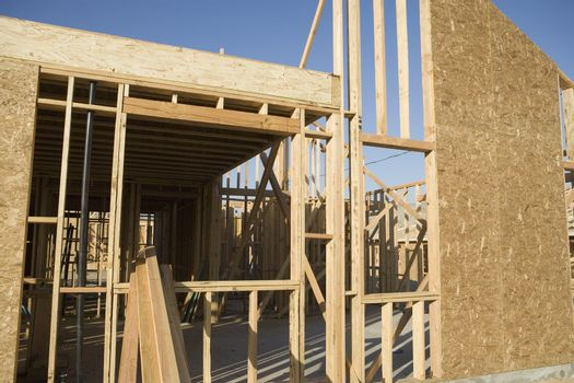 Home under construction at the framing phase