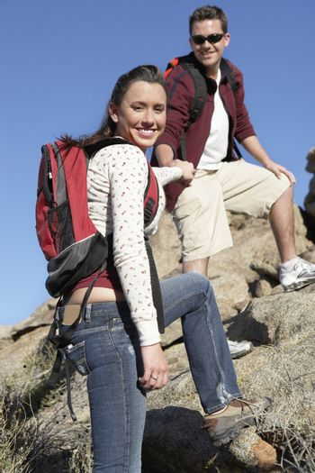 Portrait of happy Caucasian couple hiking together