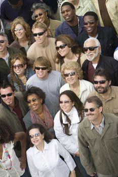 Crowd wearing sunglasses
