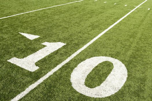 Closeup of ten yard line