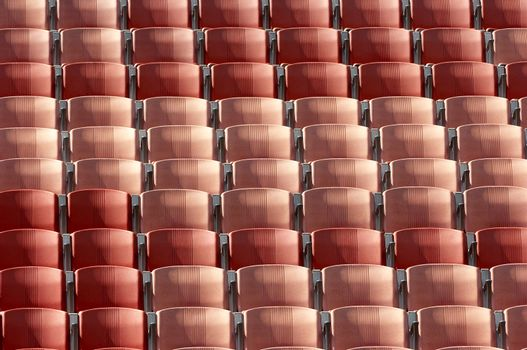 Detail shot of rows of seats at the stadium
