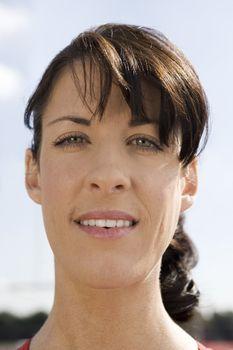 Close-up portrait of a beautiful female athlete