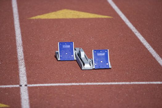 Empty starting blocks on a race track