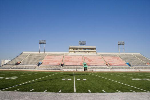 Yard lines on American football field in stadium