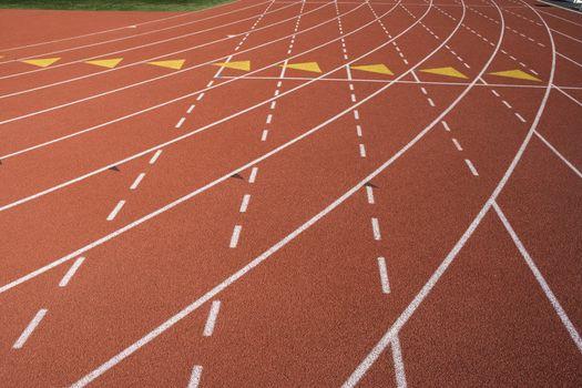 Closeup of lane marks on running track
