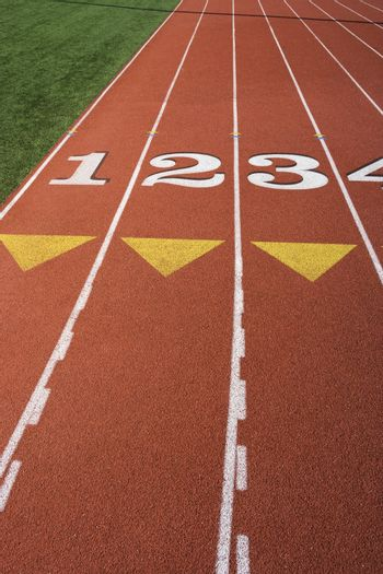 Running track with marked lane numbers
