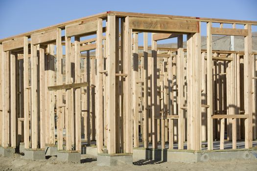 Fragment of a residential home framing under construction