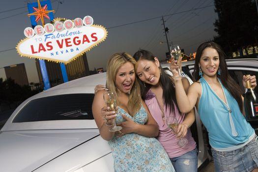 Three women having fun in Las Vegas Nevada USA