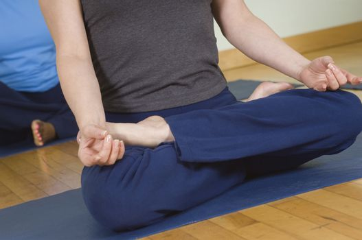 Low section of woman in lotus position