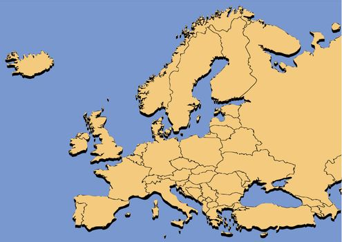 map of europe on a blue background.