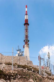 Communication tower on sveti Jure peak in Biokovo mountains.