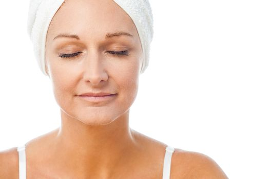 Gentle spa woman with closed eyes