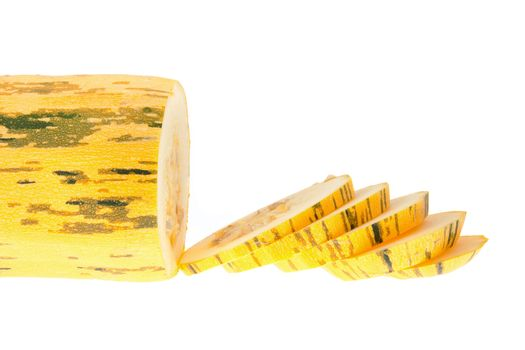 Yellow vegetable sliced marrow - isolated on a white background