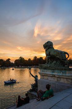 Lion sculpture in Buen Retiro park lake, Madrid