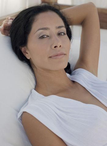 Portrait of mid-adult relaxed woman