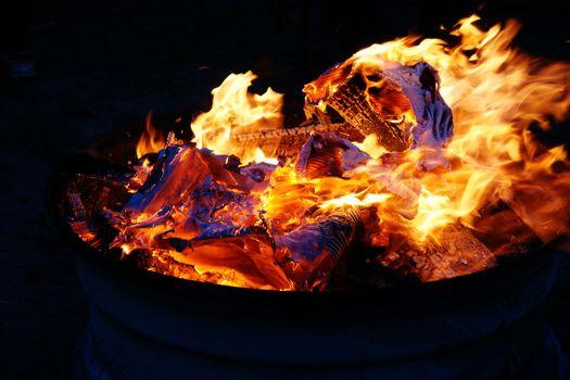 Colorful bonfire