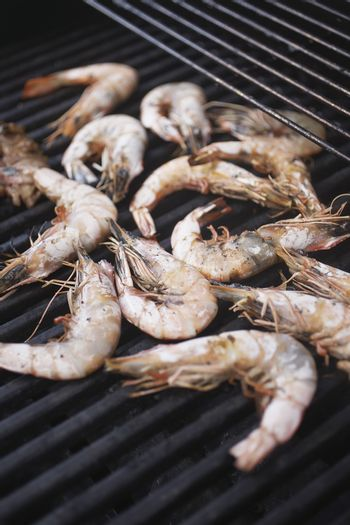 Delicious looking shrimps on the grill