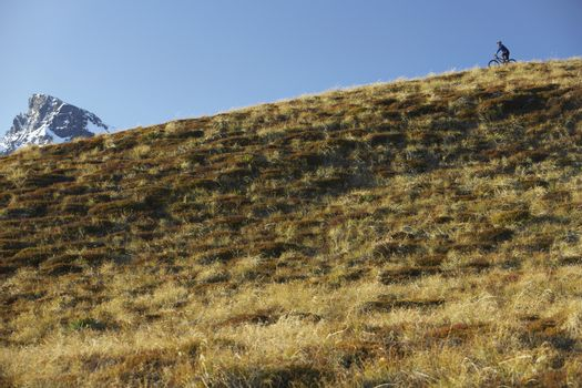 Cyclist riding on hill