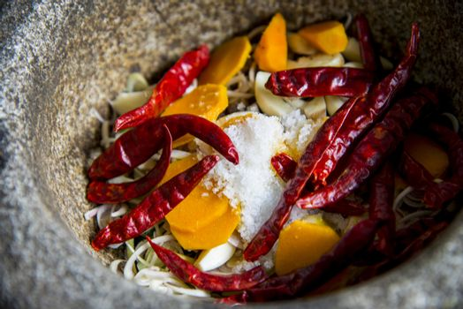 Ingredient of Thai curry are in the mortar4