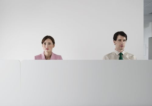 Male and female office workers behind the cubicle wall at office