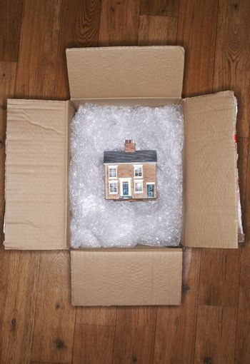 House model on bubble wrap in packing carton