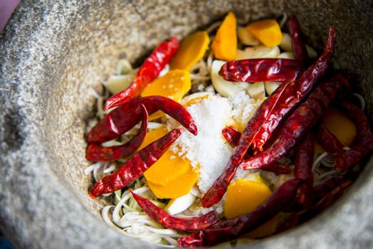 Ingredient of Thai curry are in the mortar3