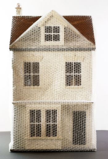 House model wrapped in bubble wrap