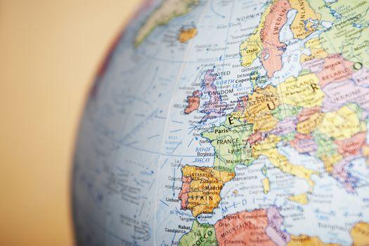 Globe close-up on Europe